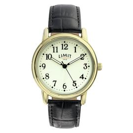 Limit Men's Glow Dial Gold Plated Faux Leather Strap Watch