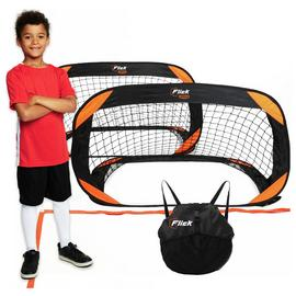 Football Flick Training Goals & Pitch Back Pack - Set Of 2
