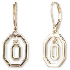 Anne Klein Gold Plated Octagonal Shape Drop Earrings