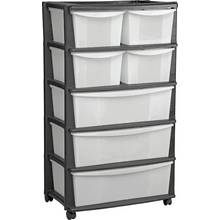 Argos Home 7 Drawer Black Plastic Wide Tower Storage Unit