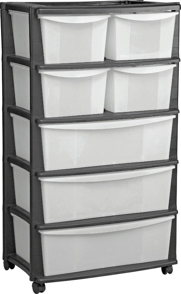 home 7 drawer black plastic wide tower storage unit