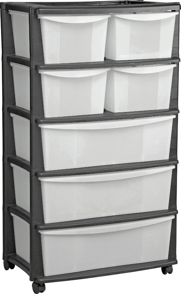 home 7 drawer black plastic wide tower storage unit