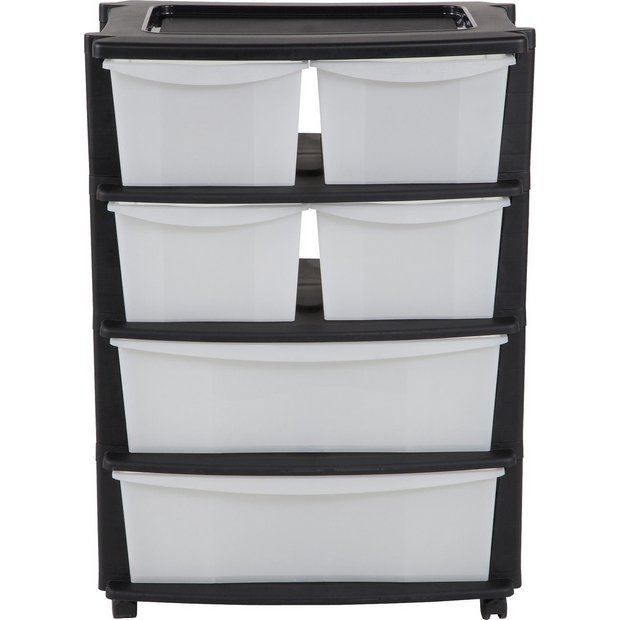 buy home 6 drawer black plastic wide tower storage unit at. Black Bedroom Furniture Sets. Home Design Ideas