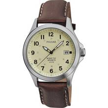 Pulsar Men's Kinetic Cream Dial Brown Strap Watch
