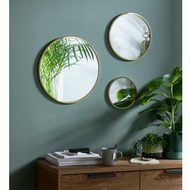 Habitat Round Brass Mirror - Set of 3