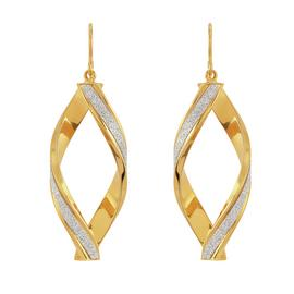 Revere 9ct Gold Plated Silver Glitter Twist Drop Earrings