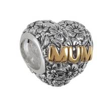 Moon & Back Sterling Silver Cubic Zerconia Mum Charm