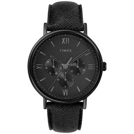 Timex Black Leather Strap Watch