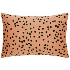 Habitat Penny Cotton Standard Pillowcase Pair - Black & Pink
