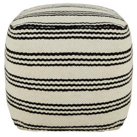 Habitat Layne Wool Cube Footstool - Black and White