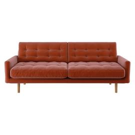 Habitat Fenner 3 Seater Velvet Sofa - Orange