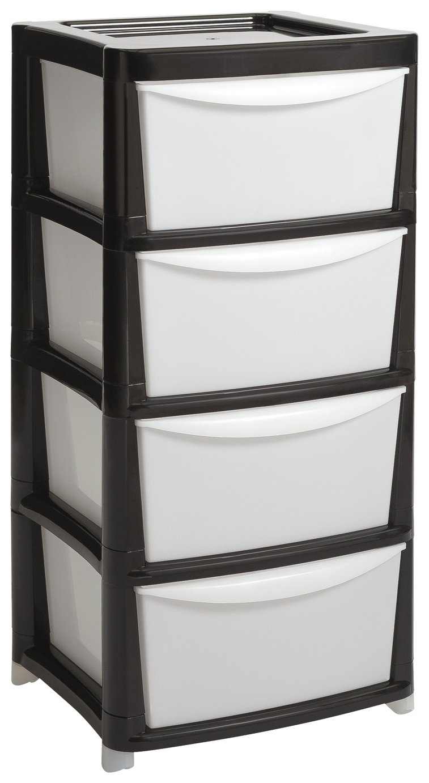 2 3 4 DRAWER BATHROOM CABINET STORAGE UNIT PLASTIC CHEST CUPBOARD WHITE DOOR