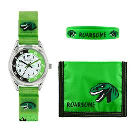 Tikkers Childrens Green Dinosaur Fabric Strap Watch