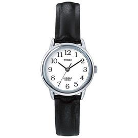Timex Ladies Easy Reader Black Leather Strap Watch
