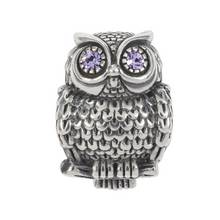 Moon & Back Sterling Silver Cubic Zirconia Owl Charm