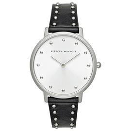 Rebecca Minkoff Womens Major | Black Leather Stud Bracelet | Silver Dial | 2200307 Best Price and Cheapest