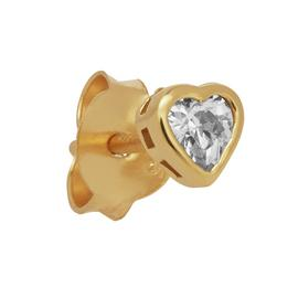 State of Mine Yellow Gold Cubic Zerconia Heart Single Stud