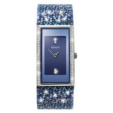 Seksy Rocks Ladies Blue Swarovski Crystal Set Strap Watch