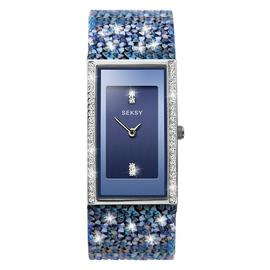Seksy Rocks Ladies Blue Swarovski Crystal Set Strap Watch