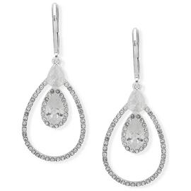Anne Klein Round Cubic Zirconia Silver Orbital Drop Earrings