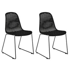 Habitat Mickey Pair of Rattan Effect Dining Chair - Black