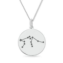 Revere Sterling Silver Star Sign Pendant - Aquarius