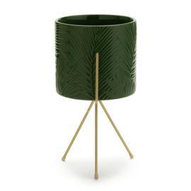 Habitat Green Ceramic Planter on Metal Legs