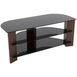 AVF Up To 55 Inch TV Stand - Black Glass and Walnut Effect