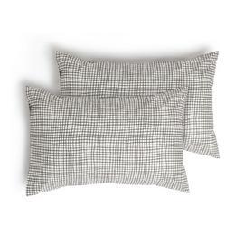 Habitat Willow Cotton Standard Pillowcase Pair - White Black