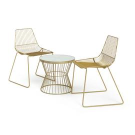 Habitat Huxley 2 Seater Metal Bistro Set - Brass