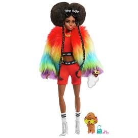Barbie Extra Fluffy Rainbow Coat Doll