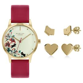 Radley Ladies Red Strap Watch and Earrings Set