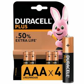 Duracell Plus Alkaline AAA Batteries - Pack of 4