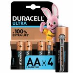 more details on Duracell Ultra Power Alkaline AA Batteries - Pack of 4.