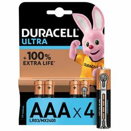 Duracell Ultra AAA Alkaline Batteries - Pack of 4