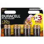 more details on Duracell Plus Power Alkaline AA Batteries -Pack of 5+3 Free.