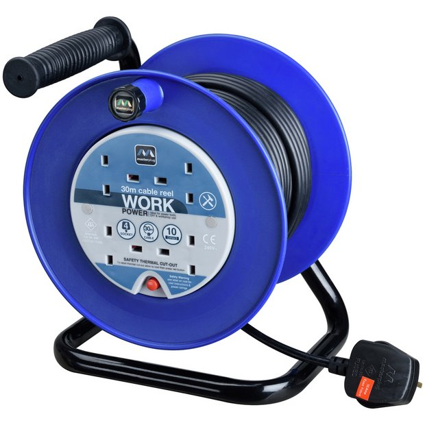 buy masterplug 4 socket cable reel 30m at. Black Bedroom Furniture Sets. Home Design Ideas