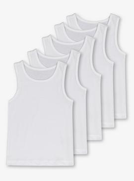 White Plain Vests 5 Pack
