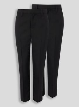 Black Woven Plus Fit Trousers 2 Pack