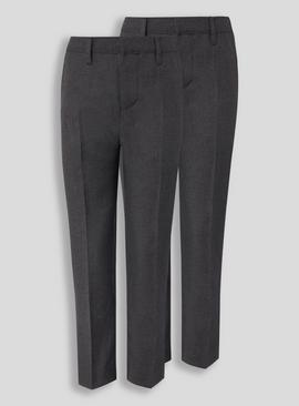 Grey Woven Long Leg Trousers 2 Pack
