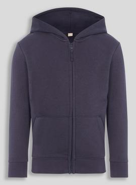 Navy Zip Through Hooded Sweat