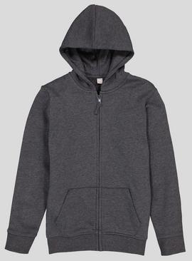 Grey Zip Through Hooded Sweat