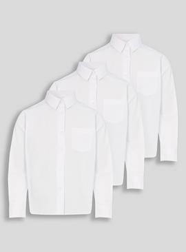 White Woven Long Sleeve Shirts 3 Pack