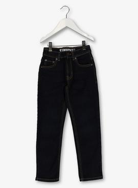Navy Straight Leg Denim Jeans With Stretch