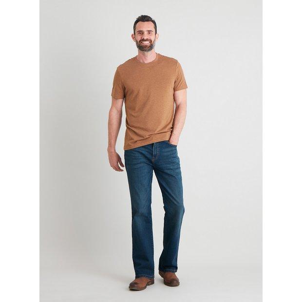 Mid Wash Denim Bootcut Jeans With Stretch - W34 L32