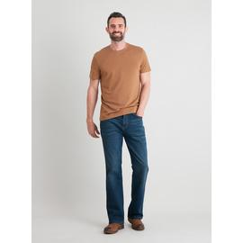 Mid Wash Denim Bootcut Jeans With Stretch