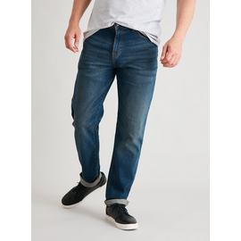 Mid Wash Denim Tapered Leg Jeans With Stretch