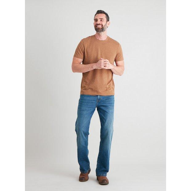 Light Wash Denim Bootcut Jeans With Stretch - W36 L32