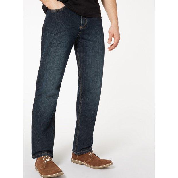 Mid Wash Denim Straight Leg Jeans With Stretch - W32 L30