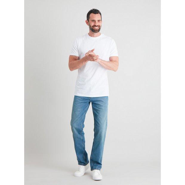 Light Wash Denim Straight Leg Jeans With Stretch - W36 L34